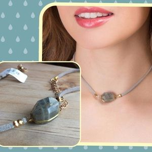 NWT Francesca's Agate + Suede Cord Choker Necklace